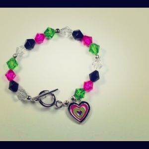 Jewelry - Colorful Beaded Heart Bracelet Handmade New 7""